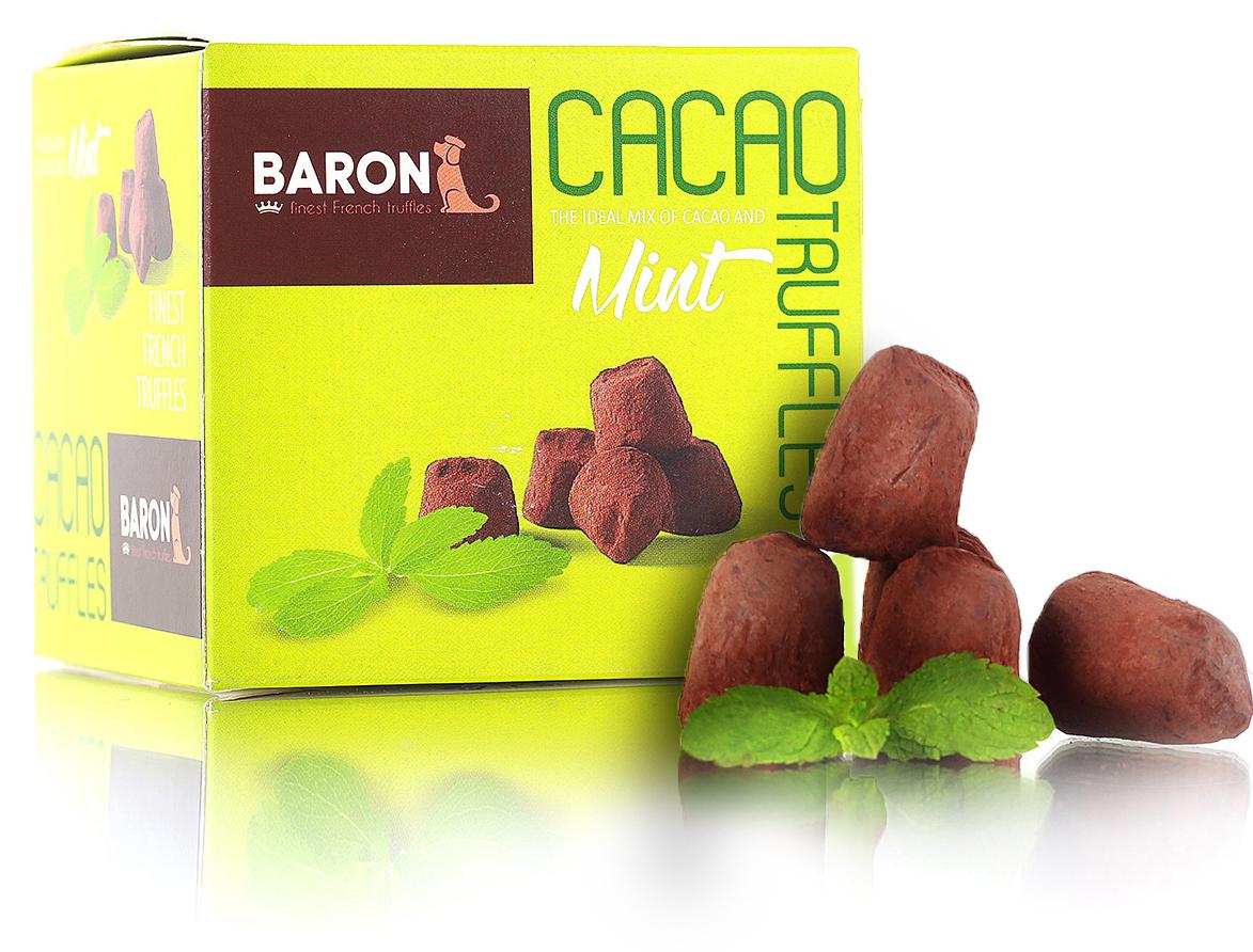 Baron Французские трюфели с кристаллами мяты, 150 г7.20.03/1Трюфели источают яркий аромат какао-бобов с тонкими нотками мяты. Лакомство завораживает интенсивным горьковато-сладким вкусом темного шоколада с освежающими мятными тонами. Шоколадные трюфели замечательны в качестве десерта. Их подают к чаю, кофе или капучино.