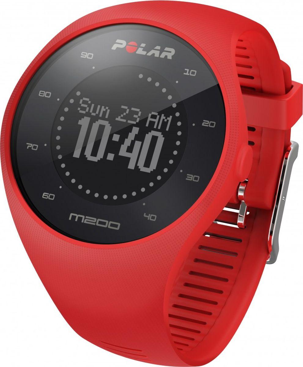 GPS-часы для бега Polar M200, с датчиком сердечного ритма на запястье, цвет: красный. Размер M/L gps с встроенным ais для компьютера