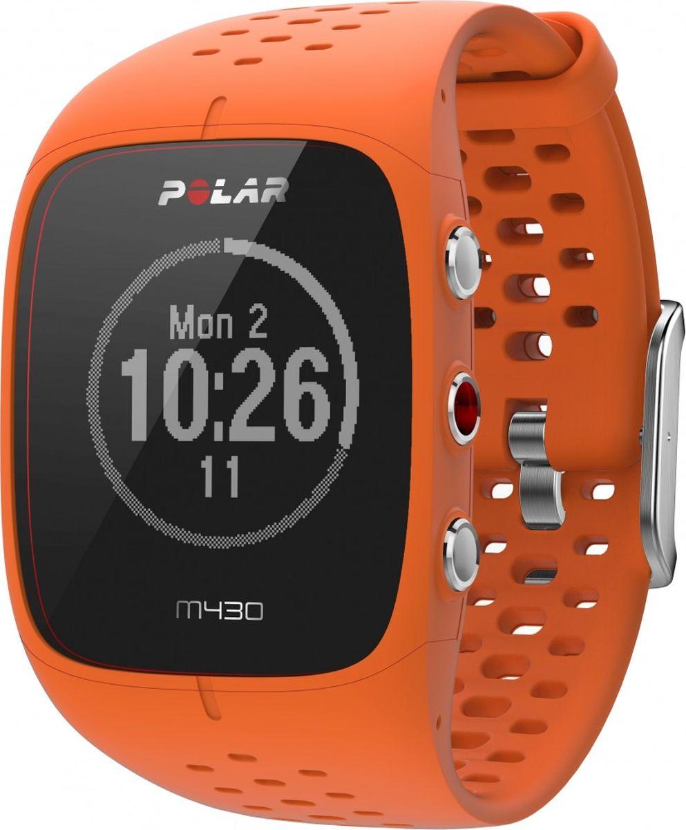 """Polar """"M430""""- это спортивные часы для бега с модулем GPS, датчиком сердечного ритма, лучшими функциями для тренировок и отслеживанием активности в режиме 24/7. Это высококлассные часы для бегунов, которые хотят получить больше от своих занятий. Датчик с пульсометром на запястье. Легко и точно отслеживайте сердечный ритм с помощью запатентованной оптической системы измерения сердечного ритма от Polar. Новейшая система GPS. Точная и надежная функция GPS в Polar """"M430"""" безошибочно измеряет скорость, расстояние и маршрут. Благодаря режиму экономии энергии GPS вы сможете отследить каждый поворот даже во время самых длинных приключений. Данные по бегу в помещении. Когда сигнал GPS недоступен, Polar """"M430"""" измеряет темп бега и дистанцию с помощью движений запястья. Отслеживание активности. Продолжайте двигаться в течение всего дня. Polar """"M430"""" отслеживает шаги, дистанцию, калории и сон, а также предоставляет персонализированную цель физической активности. POLAR FLOW Планируйте тренировки и рассказывайте о них друзьям и близким с помощью эксклюзивного онлайн-сервиса и приложения Polar Flow, поддерживающего синхронизацию данных. Все данные легко просматривать. Интеллектуальные уведомления. Функция интеллектуальных уведомлений позволяет просматривать уведомления из телефона прямо на экране спортивных часов Polar """"M430"""". Спортивные профили. Polar предоставляет более сотни различных спортивных профилей, что дает возможность выбрать профиль, соответствующий вашим тренировкам  Технические характеристики. Встроенный датчик GPS со спутниковой технологией прогнозирования SiRFInstantFix™. Датчик активности. Ручная и автоматическая установка этапов. Вибрационные уведомления. Водонепроницаемость (можно использовать во время плавания). Флеш-память объемом 8 МБ. Перезаряжаемый литий-полимерный аккумулятор на 240 мАч. Время работы аккумулятора: до 8 часов тренировок при включенном датчике GPS и оптическом датчике пульса на запястье. Возможности подключения. Индивидуальный кабель USB для """