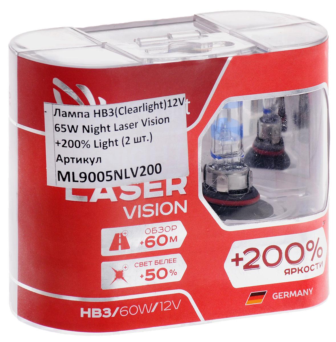Лампа автомобильная галогенная Clearlight Night Laser Vision +200% Light, цоколь HB3, 12V, 65W, 2 штML9005NLV200Clearlight Night Laser Vision +200% Light, пожалуй, самые яркие лампы из разрешенных для дорогобщего пользования. В производстве ламп использованны лазерные технологии. Лучший срокэксплуатации в своем классе. Увеличенный обзор до 60 м. Свет белее на 50%.Вкомплектацию входит 2 лампы.Уважаемые клиенты! Обращаем ваше внимание на то, что упаковка может иметь несколько видов дизайна. Поставка осуществляется в зависимости от наличия на складе.