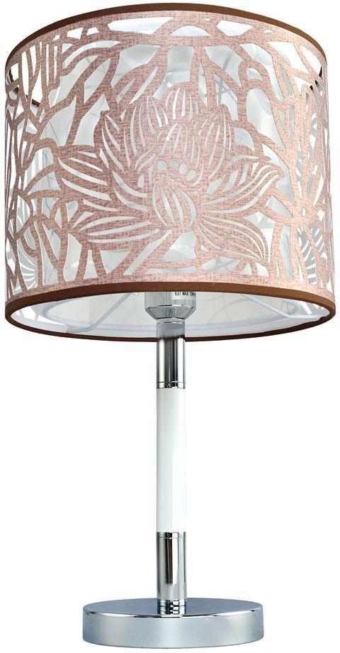 Лампа настольная Максисвет Текстиль, 1 х E27, 12W. 5-6503-1-CR+WH E275-6503-1-CR+WH E27В новую серию 6503 коллекции Текстиль с цветочным орнаментом входят потолочная и подвесная люстры, торшер, настольная лампа и светодиодная бра.Особенности светильников этой серии:- двойной абажур- лазерная вырубка на внешнем тканевом абажуре- благодаря повторению рисунка на внутреннем абажуре создается объемный 3D эффект.Светильники распространяют мягкий приглушенный свет. При желании увеличить яркость светильника можно использовать в комплектации более мощные светодиодные лампы.