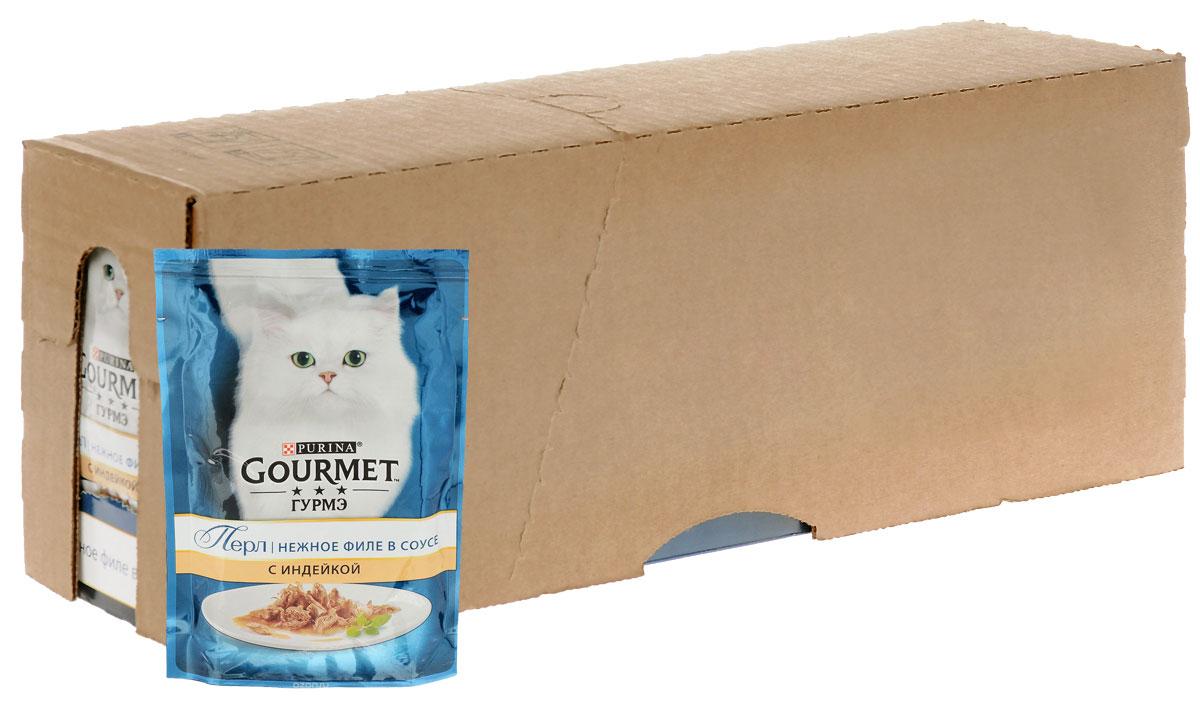 """Консервы для кошек Gourmet """"Perle"""", мини-филе с индейкой, 85 г, 24 шт"""
