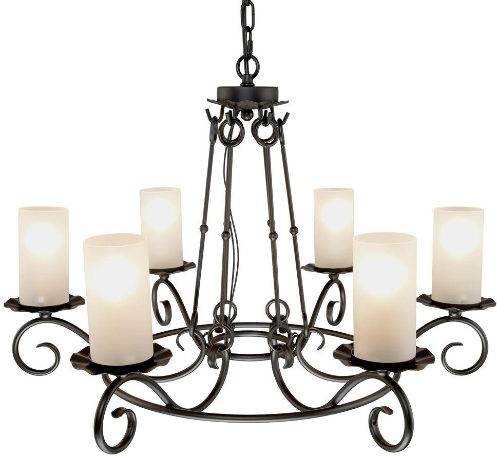 Люстра Максисвет Ковка, 6 х E14, 40W. 2-4331-6-CF E142-4331-6-CF E14Новая серия светильников 4331 в классическом замковом стиле.В оформлении каркаса используются оригинальные кованые подвесы, соединяющие верхнюю и нижнюю часть люстры.Матовые цилиндрические плафоны, стилизованные под толстые свечи, распространяют мягкий свет, создавая романтическую атмосферу средневекового замка.