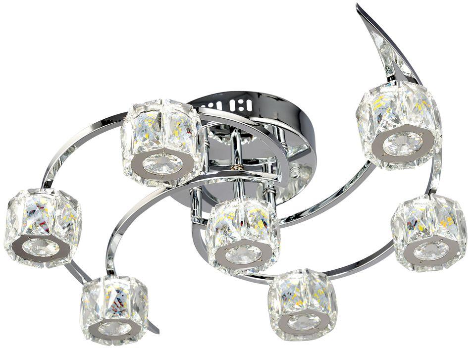 Люстра Максисвет Геометрия, 7 х LED, 10W. 1-1635-7-CR Y LED1-1635-7-CR Y LEDУльтрамодная серия светодиодных светильников коллекции Геометрия в стиле Хай-тек:- яркие светодиодные модули, как источники света – трех режимов включения.- плафоны из граненого хрусталя отлично рассеивают свет и искрятся под воздействием светодиодного света.- обратите внимание, что управлять режимами света можно с помощью пульта дистанционного управления, который входит в комплектацию изделий.