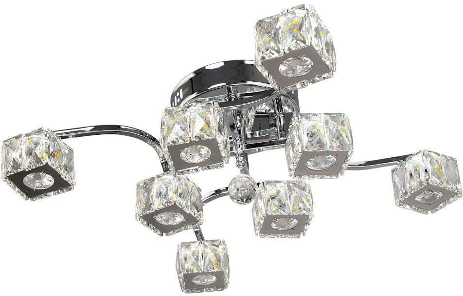 Люстра Максисвет Геометрия, 8 х LED, 10W. 1-1645-8-CR Y LED1-1645-8-CR Y LEDУльтрамодная серия светодиодных светильников коллекции Геометрия в стиле Хай-тек:- яркие светодиодные модули, как источники света – трех режимов включения.- плафоны из граненого хрусталя отлично рассеивают свет и искрятся под воздействием светодиодного света.- обратите внимание, что управлять режимами света можно с помощью пульта дистанционного управления, который входит в комплектацию изделий.