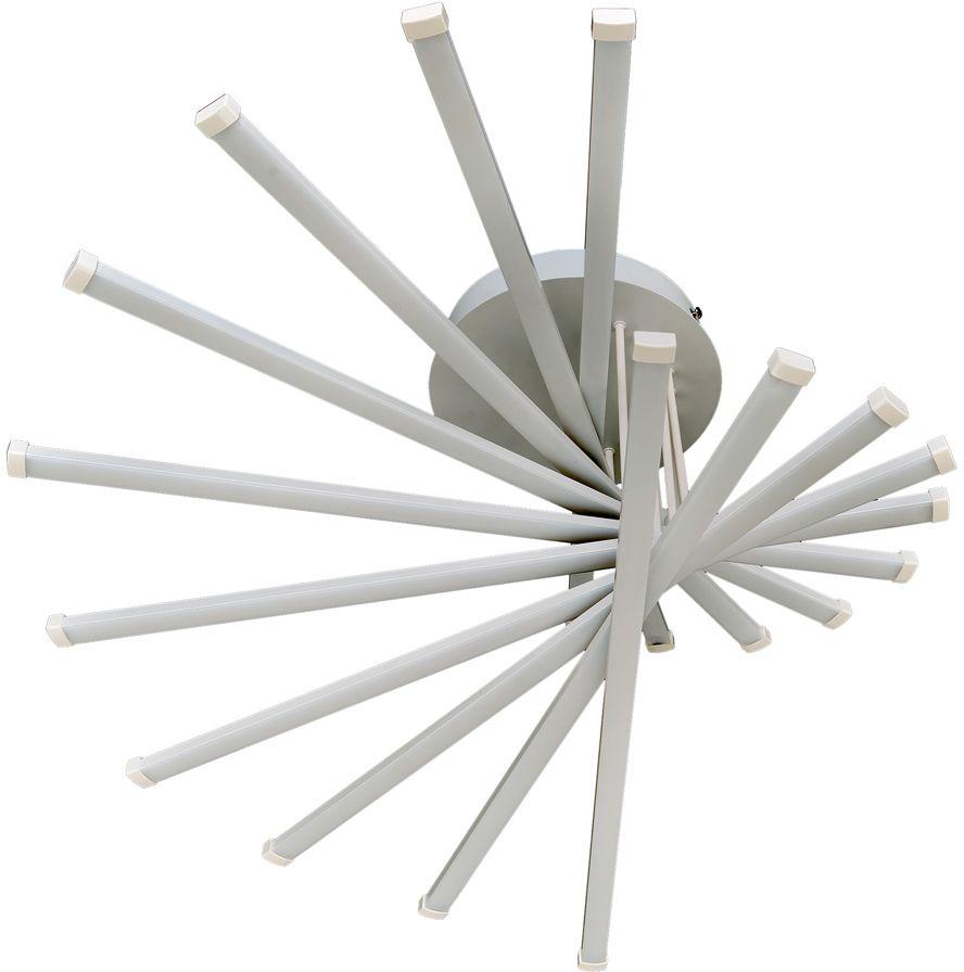Ультрамодная серия светодиодных светильников коллекции Геометрия:- 10 линейных светодиодов расположены в форме веера.- светильник имеет один режим включения, общая суммарная мощность LED = 80W- корпус светильника покрыт белой матовой эмалью.Обратите внимание, что в комплектацию серии светильников добавлен пульт дистанционного управления.