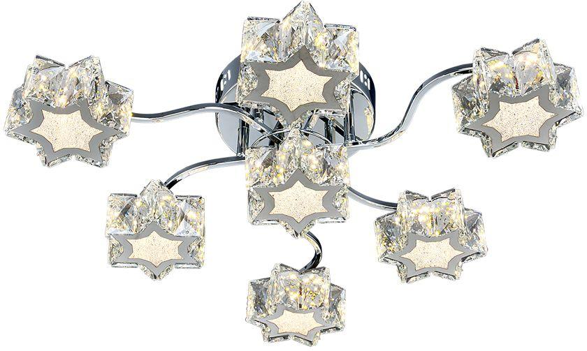 Люстра Максисвет Геометрия, 7 х LED, 8W. 1-1693-7-CR Y LED1-1693-7-CR Y LEDУльтрамодная серия светодиодных светильников коллекции Геометрия:- яркие светодиодные модули, как источники света, имеют три режима включения.- плафоны серии выполнены в форме звезд. - торцы плафонов дополнительно украшены хрусталем, что усиливает эффект искристости.Обратите внимание, что в комплектацию серии светильников добавлен пульт дистанционного управления.