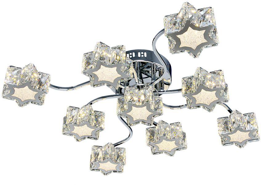 Люстра Максисвет Геометрия, 9 х LED, 8W. 1-1693-9-CR Y LED1-1693-9-CR Y LEDУльтрамодная серия светодиодных светильников коллекции Геометрия:- яркие светодиодные модули, как источники света, имеют три режима включения.- плафоны серии выполнены в форме звезд. - торцы плафонов дополнительно украшены хрусталем, что усиливает эффект искристости.Обратите внимание, что в комплектацию серии светильников добавлен пульт дистанционного управления.