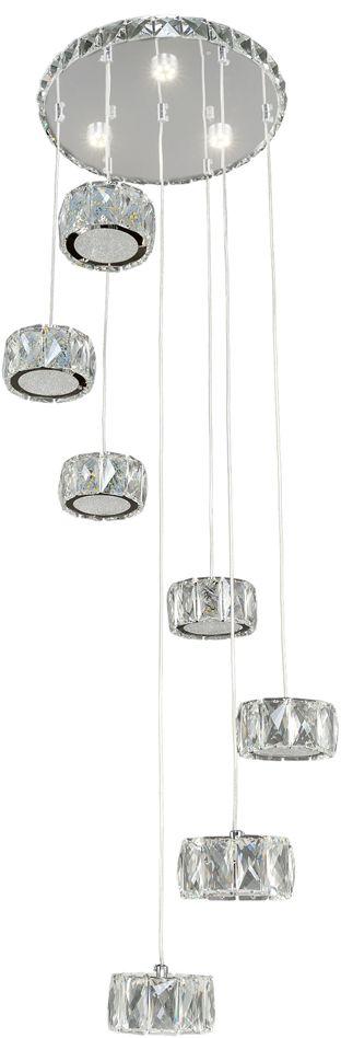 Люстра Максисвет Геометрия, 7 х LED, 8W. 2-1694-7-CR Y LED2-1694-7-CR Y LEDУльтрамодная серия светодиодных светильников коллекции Геометрия:- серия представлена новой моделью в подвесном варианте крепления плафонов. - тросы-шнуры плафонов можно регулировать по высоте.- яркие светодиодные модули, как источники света, имеют три режима включения.- торцы плафонов, а также панель светильника дополнительно украшены хрусталем, что усиливает эффект искристости.Обратите внимание, что в комплектацию серии светильников добавлен пульт дистанционного управления.