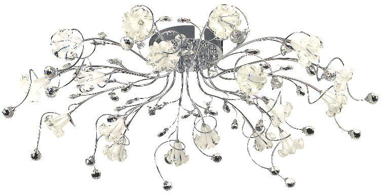 Люстра Максисвет Флористика, 18 х G4, 20W. 1-1918-18-CR Y G41-1918-18-CR Y G4Флористическое декорирование – актуальное направление в дизайне интерьеров.Использование цветочных мотивов позволяет наполнить интерьер теплотой, романтичнымнастроением, сделать его изысканным и элегантным.Люстры коллекции «Флора» от Максисвет воссоздают природные линии и формы в стекле,металле.Также, особенное настроение создает светодиодная подсветка.Благодаря широкому модельному ряду, разнообразию формы плафонов и цветов каркасаможно подобрать люстру практически для любого интерьера.