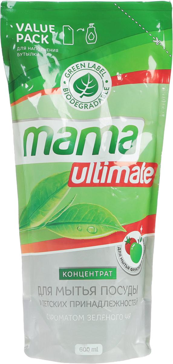 """Гель для мытья посуды и детских принадлежностей """"Mama Ultimate"""", концентрат, с ароматом зеленого чая, сменная упаковка, 600 мл 43625"""