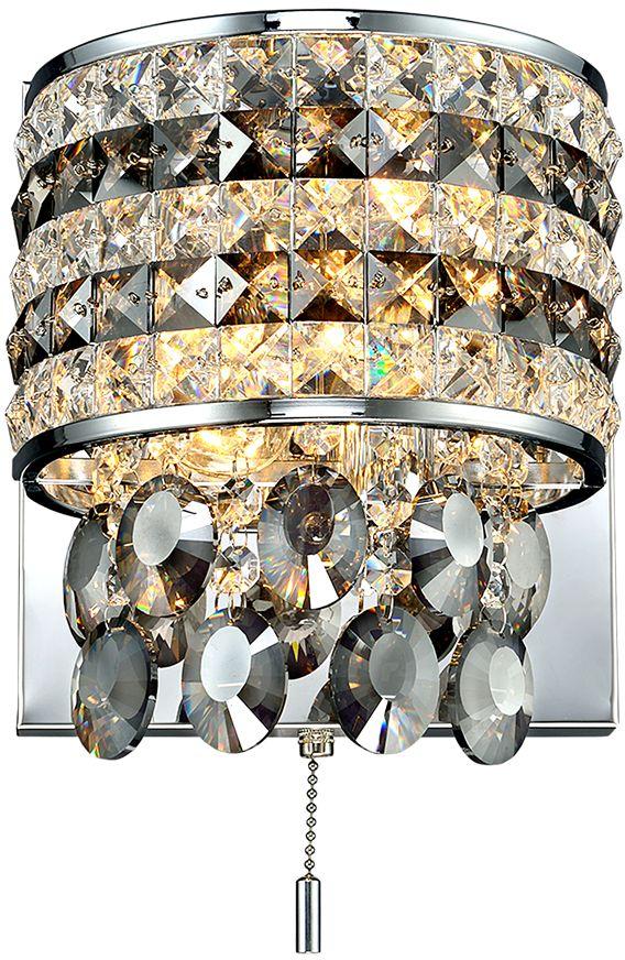 Бра Максисвет Диамант, 2 х E14, 40W. 3-2618-2-CR E143-2618-2-CR E14Новая серия хрустальных бра в коллекции «Диамант» представлена в различных цветовых решениях и формах хрусталя. Это отличная возможность подобрать настенный светильник на любой вкус, индивидуальный дизайн. - хрусталь по периметру имитирует абажур светильника, подвесной хрусталь различных форм и тонировки дополнительно украшает бра- обратите внимание, что бра укомплектованы сонеткой-выключателем