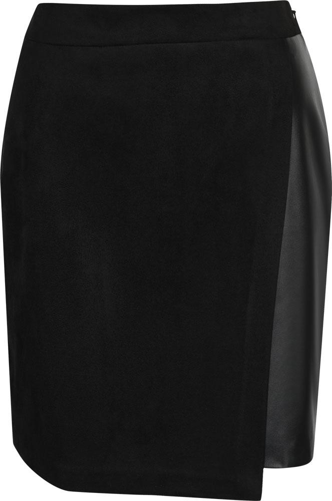 Юбка Love Republic, цвет: черный. 8152403223. Размер 428152403223Юбка от Love Republic выполнена из высококачественного материала со вставкой из искусственной кожи. Модель с асимметричным подолом сбоку застегивается на потайную молнию.