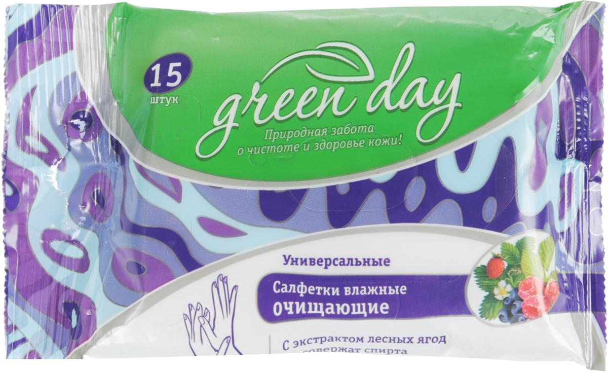 Greenday Салфетки влажные Лесные ягоды, 15 шт