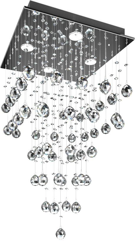 Люстра Максисвет Водопад, 4 х GU10, 50W. 1-9807-4-CR GU101-9807-4-CR GU10Модель хрустального водопада подойдет для оформленияторжественных залов и общественных помещений. В домашних условиях хрустальный водопад может исполнять не только функцию освещения, но и зонального разделения пространства.