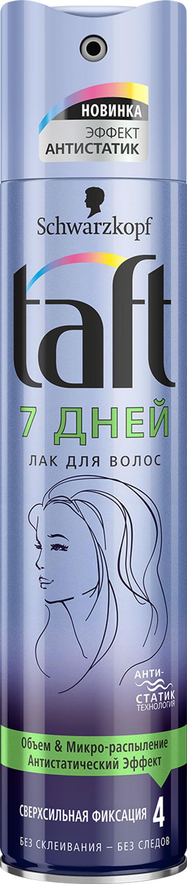 Taft Лак для волос 7 Дней сверхсильная фиксация, 225 мл2276200СТОЙКИЙ ОБЪЕМ - СВЕРХСИЛЬНАЯ ФИКСАЦИЯ Формула Taft 7 Дней с технологией антистатик защищает волосы от влажности и обеспечивает стойкую фиксацию для подвижной объемной укладки. • Без утяжеления, естественная подвижность волос. • Помогает защитить волосы от пересушивания, не утяжеляя их.
