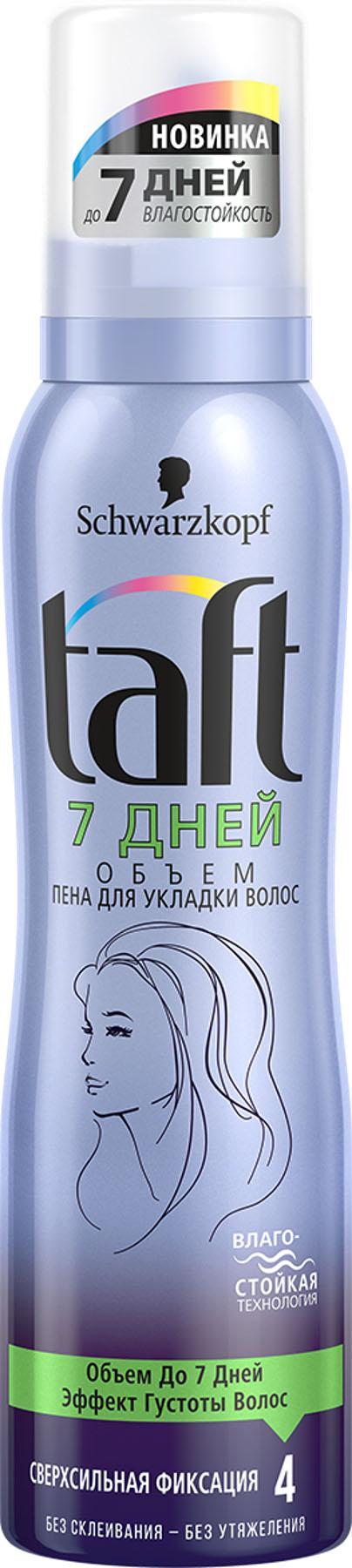 Taft Пена для укладки 7 Дней Объем сверхсильная фиксация, 150 мл2277348СТОЙКИЙ ОБЪЕМ - СВЕРХСИЛЬНАЯ ФИКСАЦИЯ Революционная* формула Taft 7 Дней Объем с влагостойкой технологией уплотняет и придает волосам объем на срок до 7 дней даже после нескольких раз мытья волос. • Без склеивания, без следов. • Помогает защитить волосы от пересушивания.