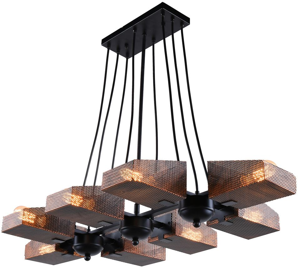 Люстра Riforma Loft, 8 х E27, 40W. 2-8550-8-BK E272-8550-8-BK E27Насыщенность металлами, шнурами,лампочками Эдисона – вот атрибутысовременных модных тенденций виндустриальном светодизайне.Простое исполнение с точным расчетомнаправления светового потока позволяетдобавить эклектического шика винтерьер как квартиры, так и загородного дома.Серия Clear создана для того,чтобы сделать свет вокруг Васчистым и прозрачным.
