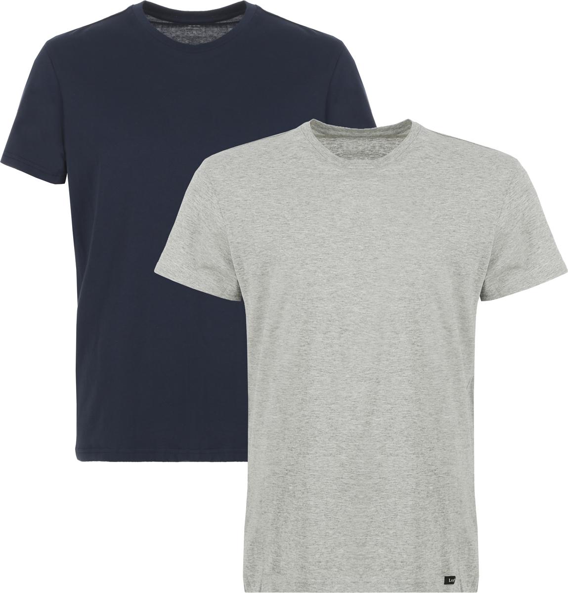 Футболка мужская Lee, цвет: темно-синий, серый, 2 шт. L680AILD. Размер XL (52)L680AILDФутболка от Lee выполнена из натурального хлопкового трикотажа. Модель с короткими рукавами и круглым вырезом горловины.В комплекте две футболки.