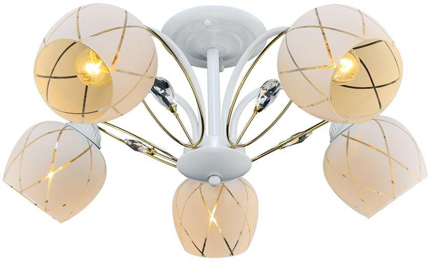 Люстра Максисвет Универсал, 5 х E27, 60W. 1-8559-5-WH+FG E271-8559-5-WH+FG E27В коллекции «Универсал» каждый сможет найти светильник на свой вкус и для любогопомещения: потолочные или подвесные люстры, с круглыми или квадратнымистеклянными плафонами, в форме фонариков или цветов.Разнообразные виды люстр и бра собраны в этой универсальной коллекции. Здесьпредставлены элегантные классические люстры, подвесы с плафонами из матового ипрозрачного стекла в стиле модерн, светильники с элементами ковки, текстильнымиабажурами и хрустальными декоративными элементами.Модели в коллекции «Универсал» объединяет демократичная цена, которая делаетразные по стилистике светильники одинаково доступными каждому покупателю.