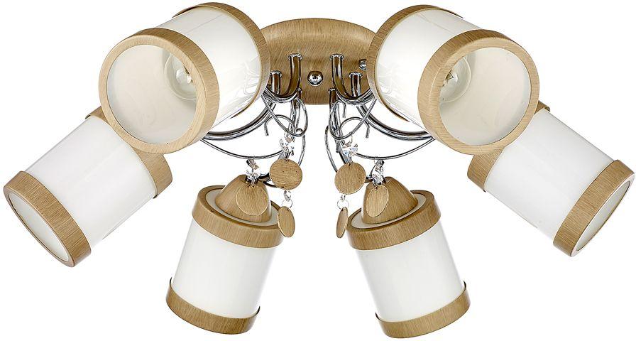 Люстра Максисвет Универсал, 6 х E27, 60W. 1-8586-6-WA+CR E271-8586-6-WA+CR E27Минималистическая серия потолочных светильников в коллекции Универсал:- выдувные белые глянцевые плафоны идеально рассеивают свет- потолочное основание и декоративные металлические кольца плафонов покрыты полимерным покрытием цвета светлого венге (светильник на 5 ламп выполнен в цвете античной бронзы)- декоративные подвески в цвет каркаса украшают композицию