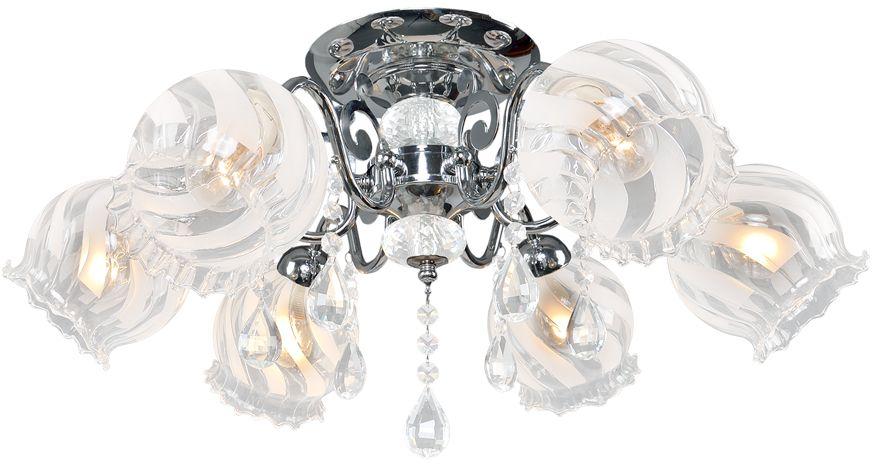 Люстра Максисвет Универсал, 6 х E14, 60W. 1-8635-6-CR Е141-8635-6-CR Е14В коллекции «Универсал» каждый сможет найти светильник на свой вкус и для любогопомещения: потолочные или подвесные люстры, с круглыми или квадратнымистеклянными плафонами, в форме фонариков или цветов.Разнообразные виды люстр и бра собраны в этой универсальной коллекции. Здесьпредставлены элегантные классические люстры, подвесы с плафонами из матового ипрозрачного стекла в стиле модерн, светильники с элементами ковки, текстильнымиабажурами и хрустальными декоративными элементами.Модели в коллекции «Универсал» объединяет демократичная цена, которая делаетразные по стилистике светильники одинаково доступными каждому покупателю.