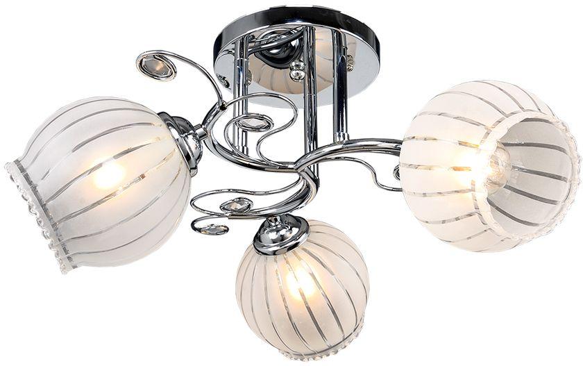 Люстра Максисвет Универсал, 3 х E27, 40W. 1-8645-3-CR Е271-8645-3-CR Е27В коллекции «Универсал» каждый сможет найти светильник на свой вкус и для любогопомещения: потолочные или подвесные люстры, с круглыми или квадратнымистеклянными плафонами, в форме фонариков или цветов.Разнообразные виды люстр и бра собраны в этой универсальной коллекции. Здесьпредставлены элегантные классические люстры, подвесы с плафонами из матового ипрозрачного стекла в стиле модерн, светильники с элементами ковки, текстильнымиабажурами и хрустальными декоративными элементами.Модели в коллекции «Универсал» объединяет демократичная цена, которая делаетразные по стилистике светильники одинаково доступными каждому покупателю.