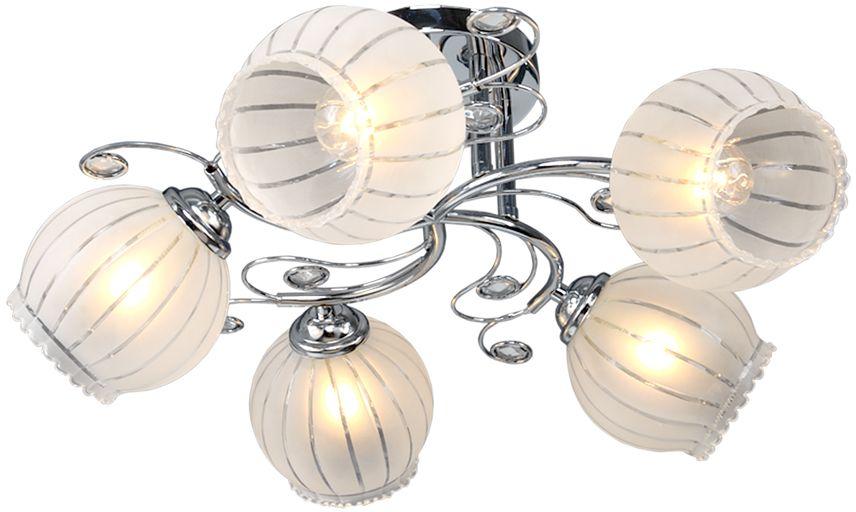 Люстра Максисвет Универсал, 5 х E27, 40W. 1-8645-5-CR Е271-8645-5-CR Е27В коллекции «Универсал» каждый сможет найти светильник на свой вкус и для любогопомещения: потолочные или подвесные люстры, с круглыми или квадратнымистеклянными плафонами, в форме фонариков или цветов.Разнообразные виды люстр и бра собраны в этой универсальной коллекции. Здесьпредставлены элегантные классические люстры, подвесы с плафонами из матового ипрозрачного стекла в стиле модерн, светильники с элементами ковки, текстильнымиабажурами и хрустальными декоративными элементами.Модели в коллекции «Универсал» объединяет демократичная цена, которая делаетразные по стилистике светильники одинаково доступными каждому покупателю.