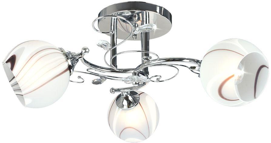 Люстра Максисвет Универсал, 3 х E27, 40W. 1-8669-3-CR E271-8669-3-CR E27В коллекции «Универсал» каждый сможет найти светильник на свой вкус и для любогопомещения: потолочные или подвесные люстры, с круглыми или квадратнымистеклянными плафонами, в форме фонариков или цветов.Разнообразные виды люстр и бра собраны в этой универсальной коллекции. Здесьпредставлены элегантные классические люстры, подвесы с плафонами из матового ипрозрачного стекла в стиле модерн, светильники с элементами ковки, текстильнымиабажурами и хрустальными декоративными элементами.Модели в коллекции «Универсал» объединяет демократичная цена, которая делаетразные по стилистике светильники одинаково доступными каждому покупателю.