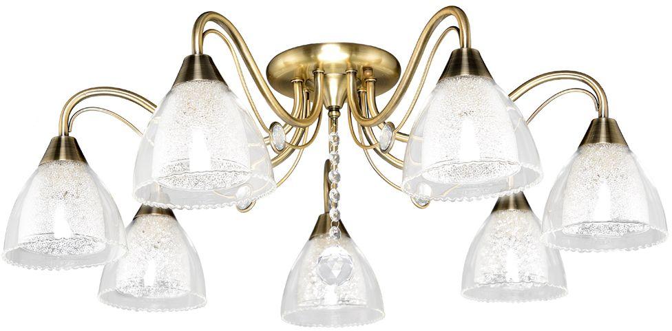 Новая серия коллекции Универсал 8769 имеет плафоны с эффектом искристости.На поверхности внутренних плафонов - хрустальная крошка, которая создает искрящийся эффект.Внешние плафоны выполнены из тонкого прозрачного стекла и имеют волнистый край, придающией светильникам легкость и воздушность.Каркас светильника украшен медальонами из хрусталя.