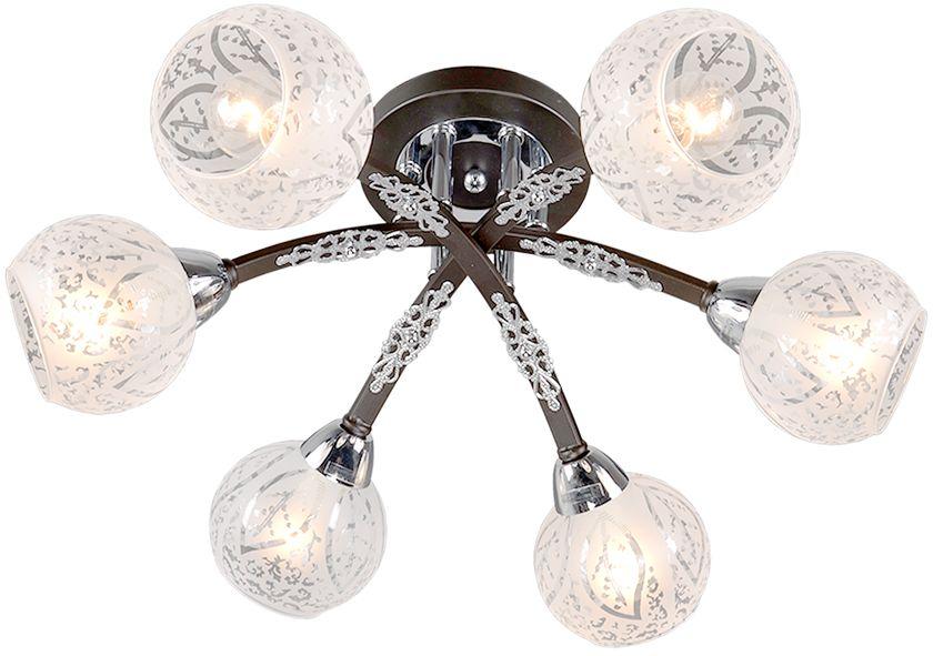 Люстра Максисвет Универсал, 6 х E14, 60W. 1-9170-6-CR+BK E141-9170-6-CR+BK E14В коллекции «Универсал» каждый сможет найти светильник на свой вкус и для любогопомещения: потолочные или подвесные люстры, с круглыми или квадратнымистеклянными плафонами, в форме фонариков или цветов.Разнообразные виды люстр и бра собраны в этой универсальной коллекции. Здесьпредставлены элегантные классические люстры, подвесы с плафонами из матового ипрозрачного стекла в стиле модерн, светильники с элементами ковки, текстильнымиабажурами и хрустальными декоративными элементами.Модели в коллекции «Универсал» объединяет демократичная цена, которая делаетразные по стилистике светильники одинаково доступными каждому покупателю.