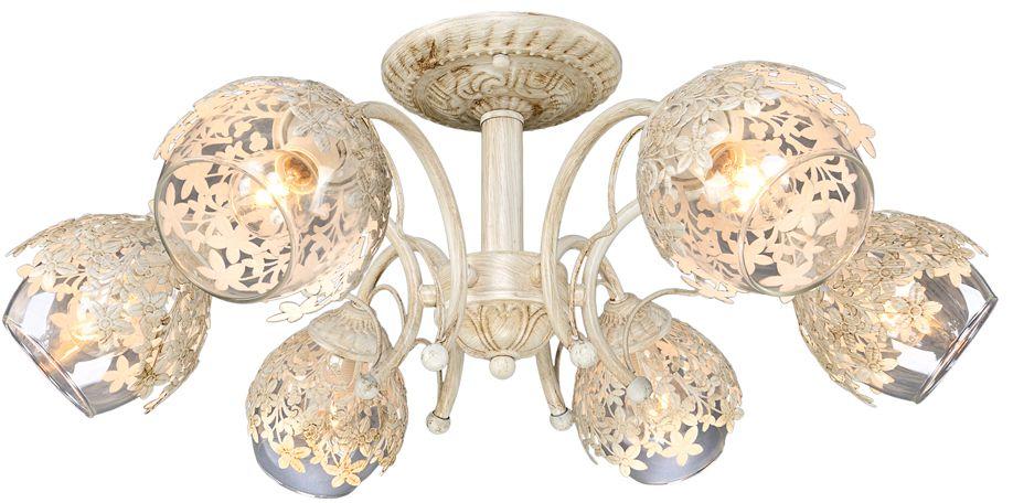 Люстра Максисвет Универсал, 6 х E27, 60W. 1-9360-6-WHS E271-9360-6-WHS E27В коллекции «Универсал» каждый сможет найти светильник на свой вкус и для любогопомещения: потолочные или подвесные люстры, с круглыми или квадратнымистеклянными плафонами, в форме фонариков или цветов.Разнообразные виды люстр и бра собраны в этой универсальной коллекции. Здесьпредставлены элегантные классические люстры, подвесы с плафонами из матового ипрозрачного стекла в стиле модерн, светильники с элементами ковки, текстильнымиабажурами и хрустальными декоративными элементами.Модели в коллекции «Универсал» объединяет демократичная цена, которая делаетразные по стилистике светильники одинаково доступными каждому покупателю.