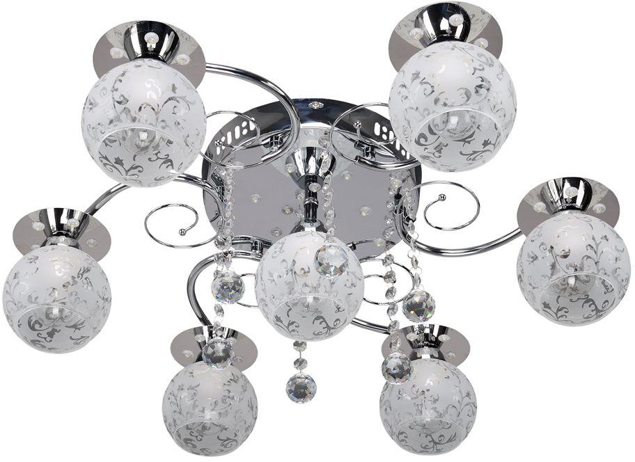 Люстра Максисвет Универсал, 7 х E14, 40W. 1-9367-7-CR-LED Y E141-9367-7-CR-LED Y E14В коллекции «Универсал» каждый сможет найти светильник на свой вкус и для любогопомещения: потолочные или подвесные люстры, с круглыми или квадратнымистеклянными плафонами, в форме фонариков или цветов.Разнообразные виды люстр и бра собраны в этой универсальной коллекции. Здесьпредставлены элегантные классические люстры, подвесы с плафонами из матового ипрозрачного стекла в стиле модерн, светильники с элементами ковки, текстильнымиабажурами и хрустальными декоративными элементами.Модели в коллекции «Универсал» объединяет демократичная цена, которая делаетразные по стилистике светильники одинаково доступными каждому покупателю.