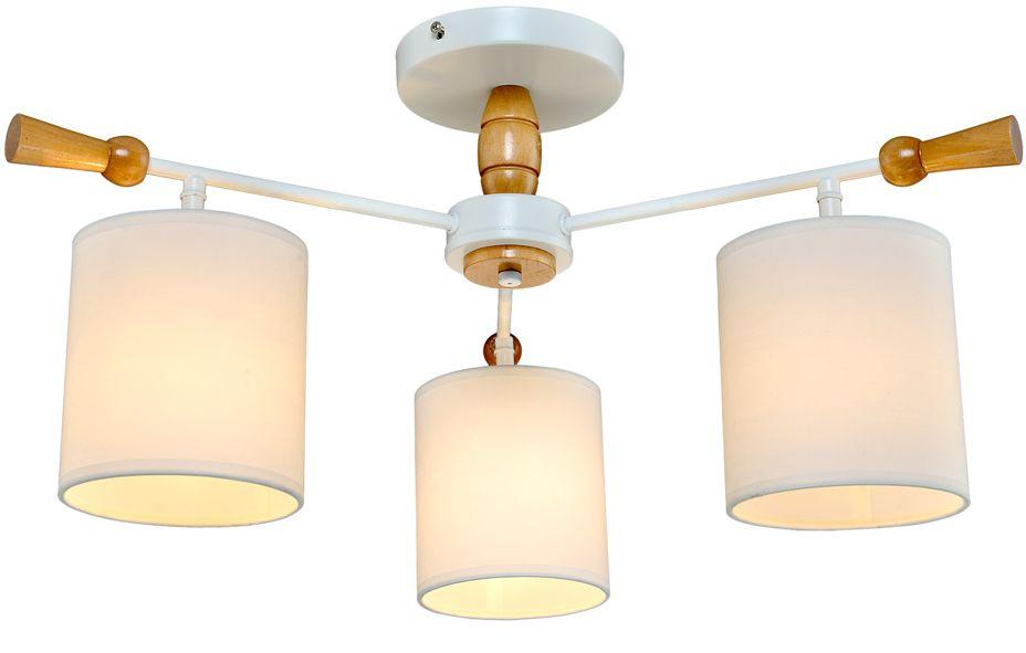 Люстра Максисвет Еврокаркасы, 3 х E14, 60W. 1-3012-3-WH+WA E141-3012-3-WH+WA E14Серии потолочных светильников 3012 идеально подойдут как для освещения гостиных и спален, так и для детских комнат.Каркас светильника выполнен в форме штурвала. «Рукоятки штурвала» и декоративные элементы светильников выполнены из дерева цвета беленый дуб.Плафоны светильников изготовлены из белого текстиля на светотехническом пластике. Плафоны распространяют мягкий, уютный свет.Серия светильников представлена в двух цветах каркаса – белая эмаль и блестящий хром.