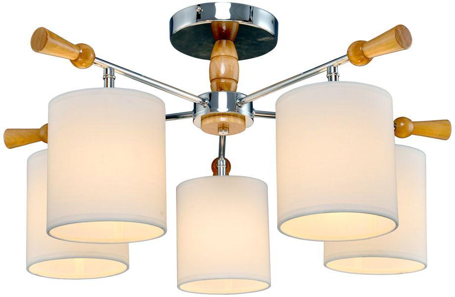 Люстра Максисвет Еврокаркасы, 5 х E14, 60W. 1-3012-5-CR+WA E141-3012-5-CR+WA E14Серии потолочных светильников 3012 идеально подойдут как для освещения гостиных и спален, так и для детских комнат.Каркас светильника выполнен в форме штурвала. «Рукоятки штурвала» и декоративные элементы светильников выполнены из дерева цвета беленый дуб.Плафоны светильников изготовлены из белого текстиля на светотехническом пластике. Плафоны распространяют мягкий, уютный свет.Серия светильников представлена в двух цветах каркаса – белая эмаль и блестящий хром.
