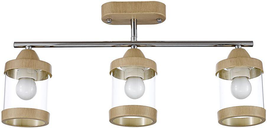 Люстра Максисвет Еврокаркасы, 3 х E27, 60W. 1-3040-3-WA+CR E271-3040-3-WA+CR E27Европейская серия потолочных светильников в коллекции Еврокаркасы:- выдувные плафоны в форме стакана выполнены из прозрачного стекла- потолочное основание и декоративные металлические кольца плафонов покрыты полимерным покрытием цвета светлого венге- металлические планки корпуса выполнены в цвете блестящего хрома