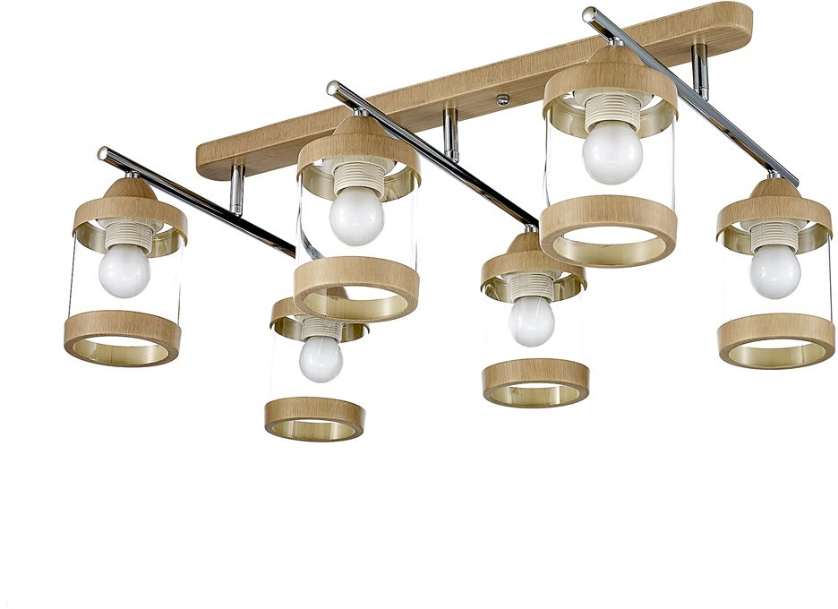 Люстра Максисвет Еврокаркасы, 6 х E27, 60W. 1-3040-6-WA+CR E271-3040-6-WA+CR E27Европейская серия потолочных светильников в коллекции Еврокаркасы:- выдувные плафоны в форме стакана выполнены из прозрачного стекла- потолочное основание и декоративные металлические кольца плафонов покрыты полимерным покрытием цвета светлого венге- металлические планки корпуса выполнены в цвете блестящего хрома