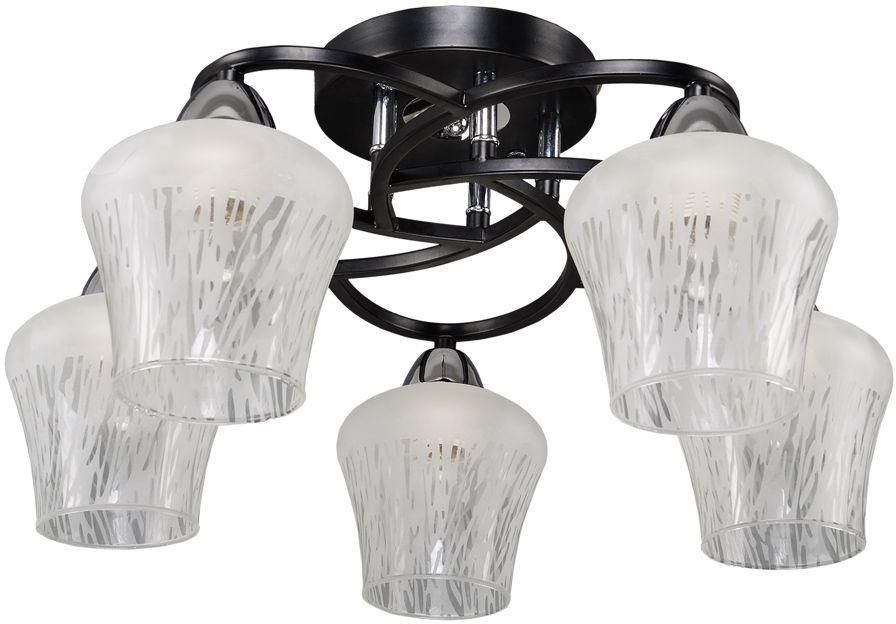 Люстра Максисвет Еврокаркасы, 5 х E27, 60W. 1-3080-5-BK+CR E271-3080-5-BK+CR E27Коллекция «Еврокаркасы» – это стильные светильники европейского дизайна,которые идеально впишутся в современные интерьеры.Лаконичные формы воплощены в матовом, граненом и тонированном стекле,которое обрамляют каркасы насыщенных темно-коричневых, кофейных цветов,цвета античной бронзы и, конечно, цвета дерева венге.Наши светильники ориентированы на массовый спрос, так как идеально подходятдля небольших по площади комнат с высотой потолка 2,50 – 2,70 м и гармоничносочетаются с корпусной мебелью широко распространенного цвета венге.