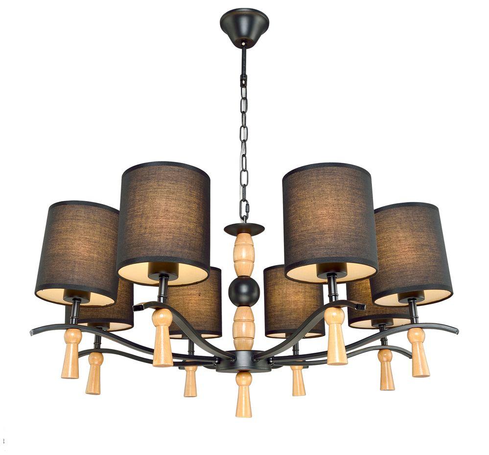 Люстра Максисвет Еврокаркасы, 8 х E14, 60W. 2-3011-8-BK+WA E142-3011-8-BK+WA E14Серии подвесных светильников на цепочке 3011 в восточноевропейском стиле:- Декоративные элементы люстр и бра выполнены из натурального дерева цвета беленый дуб.- Плафоны светильников изготовлены из белого (люстры на 3 и 6 ламп) и черного (люстры на 5 и 8 ламп) текстиля на светотехническом пластике. Плафоны распространяют мягкий, уютный свет.- Серия представлена в двух цветах каркаса – блестящий хром (плафоны из белого текстиля) и матовая черная эмаль (плафоны из черного текстиля).