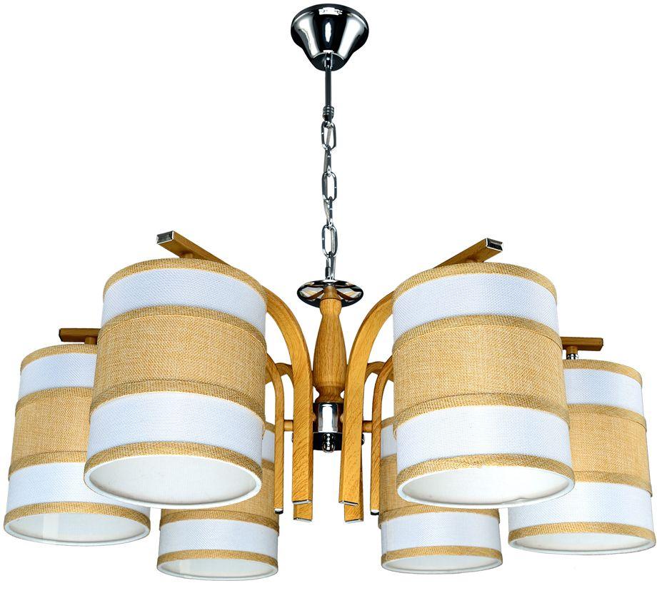 Люстра Максисвет Еврокаркасы, 6 х E27, 60W. 2-3407-6-WA+CR E272-3407-6-WA+CR E27Серии подвесных светильников 3407 и 3408 выполнены в классическом польском стиле:- крупные текстильные плафоны дают теплый рассеянный свет и создают уютную атмосферу,- каркас выполнен из массива дерева цвета орех.При этом хромированные элементы каркаса делают светильники более современными и позволяют легко вписать люстру в интерьер с хромированной фурнитурой.