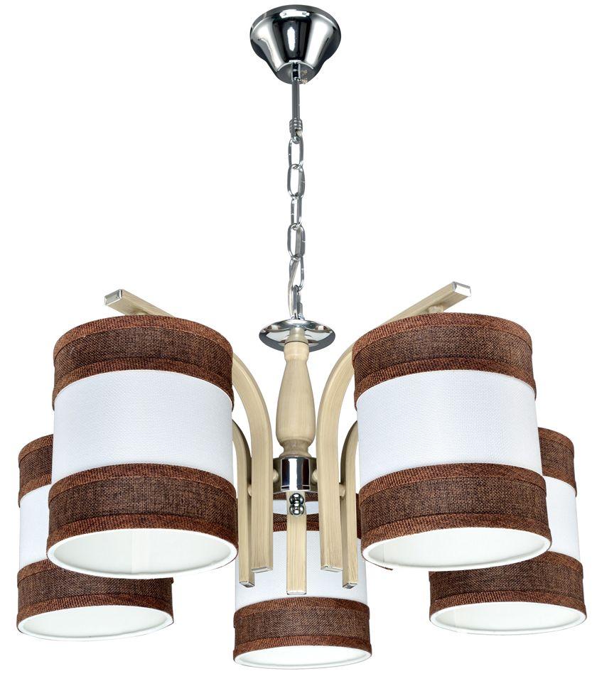 Люстра Максисвет Еврокаркасы, 5 х E27, 60W. 2-3408-5-WA+CR E272-3408-5-WA+CR E27Серии подвесных светильников 3407 и 3408 выполнены в классическом польском стиле:- крупные текстильные плафоны дают теплый рассеянный свет и создают уютную атмосферу,- каркас выполнен из массива дерева цвета орех.При этом хромированные элементы каркаса делают светильники более современными и позволяют легко вписать люстру в интерьер с хромированной фурнитурой.