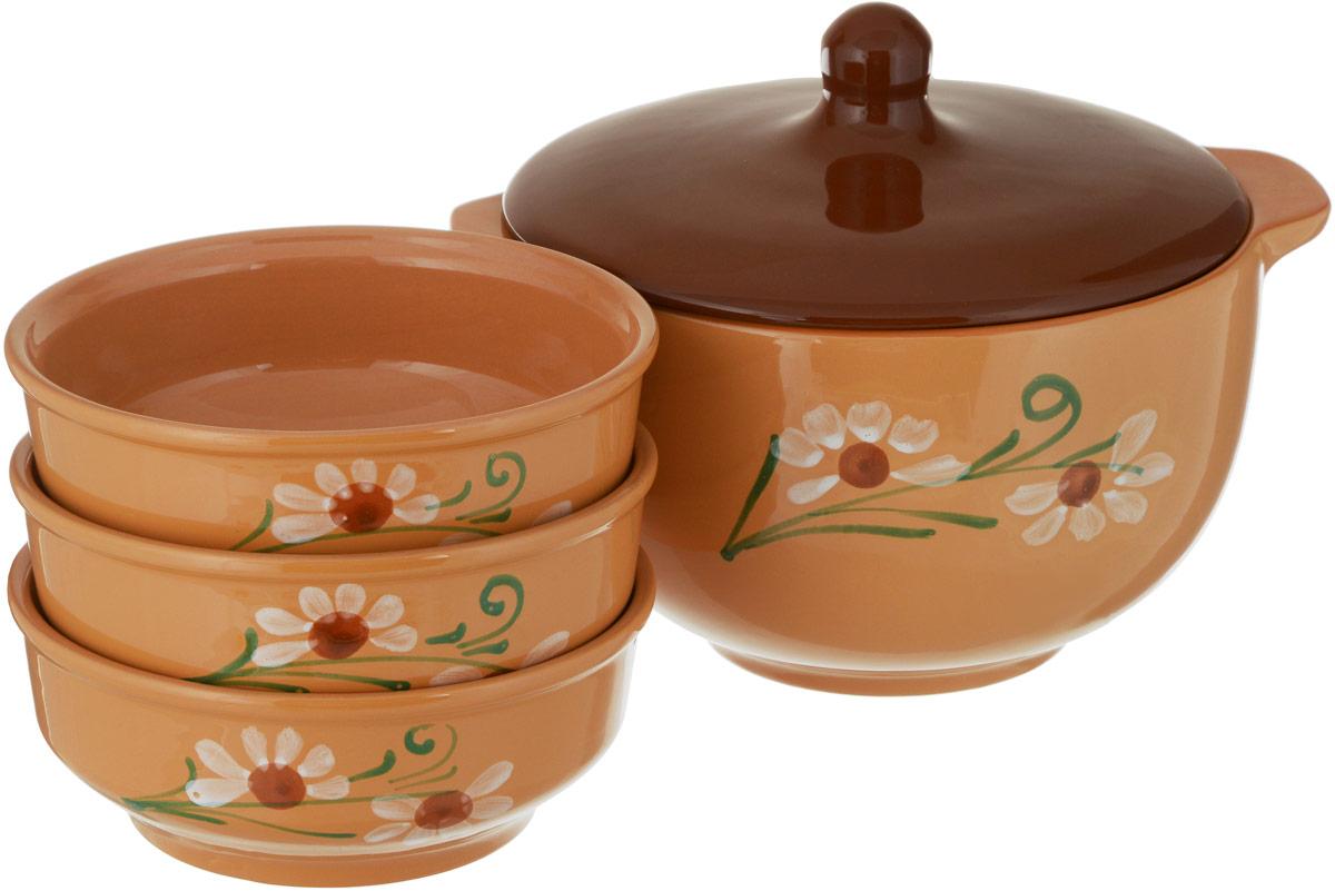 """Набор столовой посуды Борисовская керамика """"Стандарт"""" состоит из горшочка с крышкой и 3 порционных мисок.  Изделия выполнены  из высококачественной керамики.  Такой набор идеально подойдет для подачи пельменей; он эффектно украсит любой кухонный интерьер и станет  хорошим подарком для ваших близких.  Объем горшочка: 1,2 л Объем 1 миски: 0,5 л."""