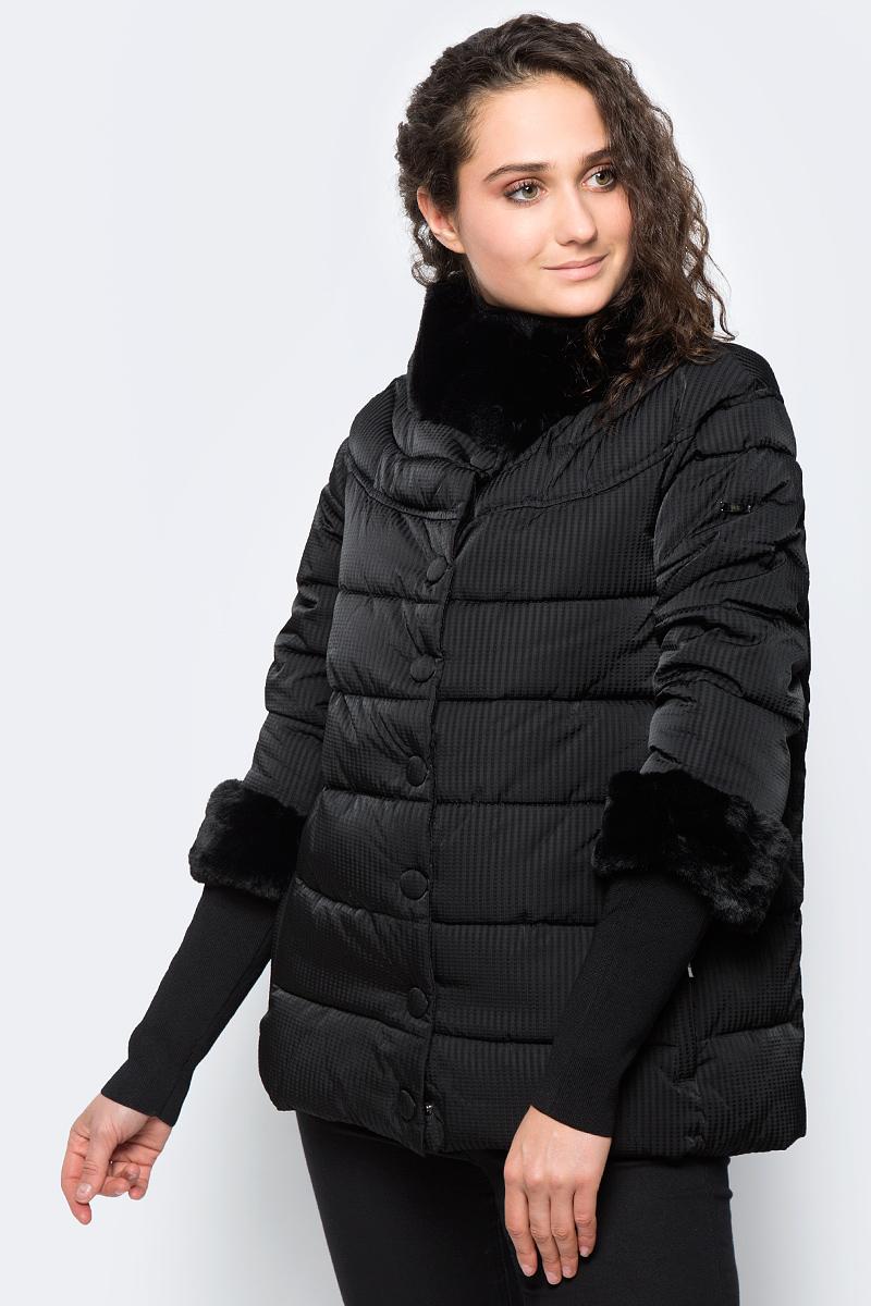 Куртка женская adL, цвет: черный. 15232182001_001. Размер XS (40/42)15232182001_001Утепленная куртка adL выполнена из 100% полиэстера на утеплителе из синтепона. Модель с рукавами 7/8 и воротником-стойкой застегивается на кнопки. Рукава оснащены внутренними эластичными манжетами. Спереди куртка дополнена двумя прорезными карманами на застежках-молниях.