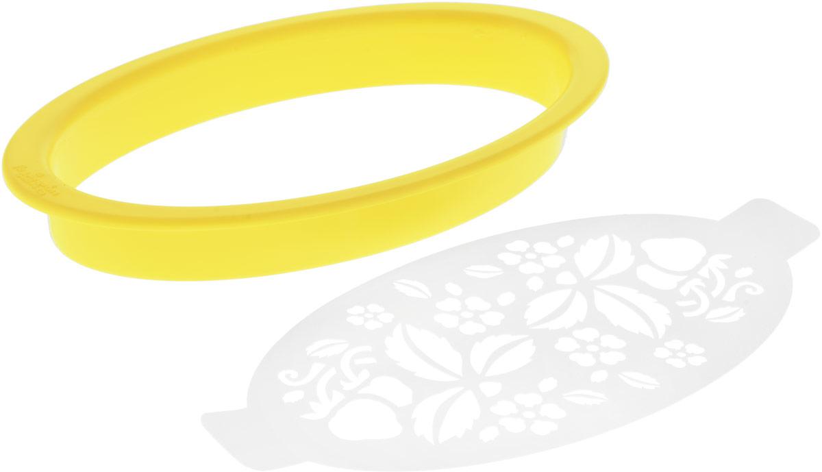 Форма для пряников, вырезки бисквита и желе Леденцовая фабрика Овал, цвет: желтыйВ15_желтыйПрофессиональная форма для пряников Леденцовая фабрика Овал, изготовленная извысококачественного полипропилена, предназначена для вырубки бисквита и желе. Внаборе: форма, трафарет для росписи и айсинга.