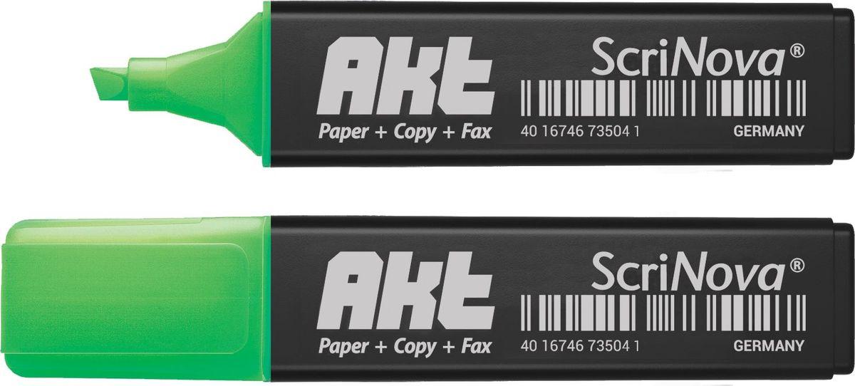 ScriNova Текстовыделитель Akt цвет зеленый735004Текстовыделитель ScriNova Akt– предназначен для выделения текста на бумаге.Имеет родленную линию письма, экономный расход чернил, скошенный износоустойчивый наконечник. До 4-х часов без колпачка. Чернила на водной основе. Флуоресцентный цвет.