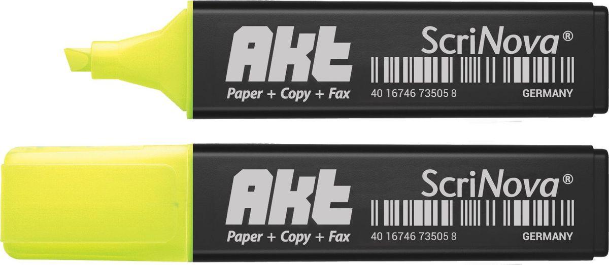 ScriNova Текстовыделитель Akt цвет желтый735005Текстовыделитель ScriNova Akt – предназначен для выделения текста на бумаге.Имеет продленную линию письма, экономный расход чернил, скошенный износоустойчивый наконечник.До 4-х часов без колпачка. Чернила на водной основе. Флуоресцентный цвет.