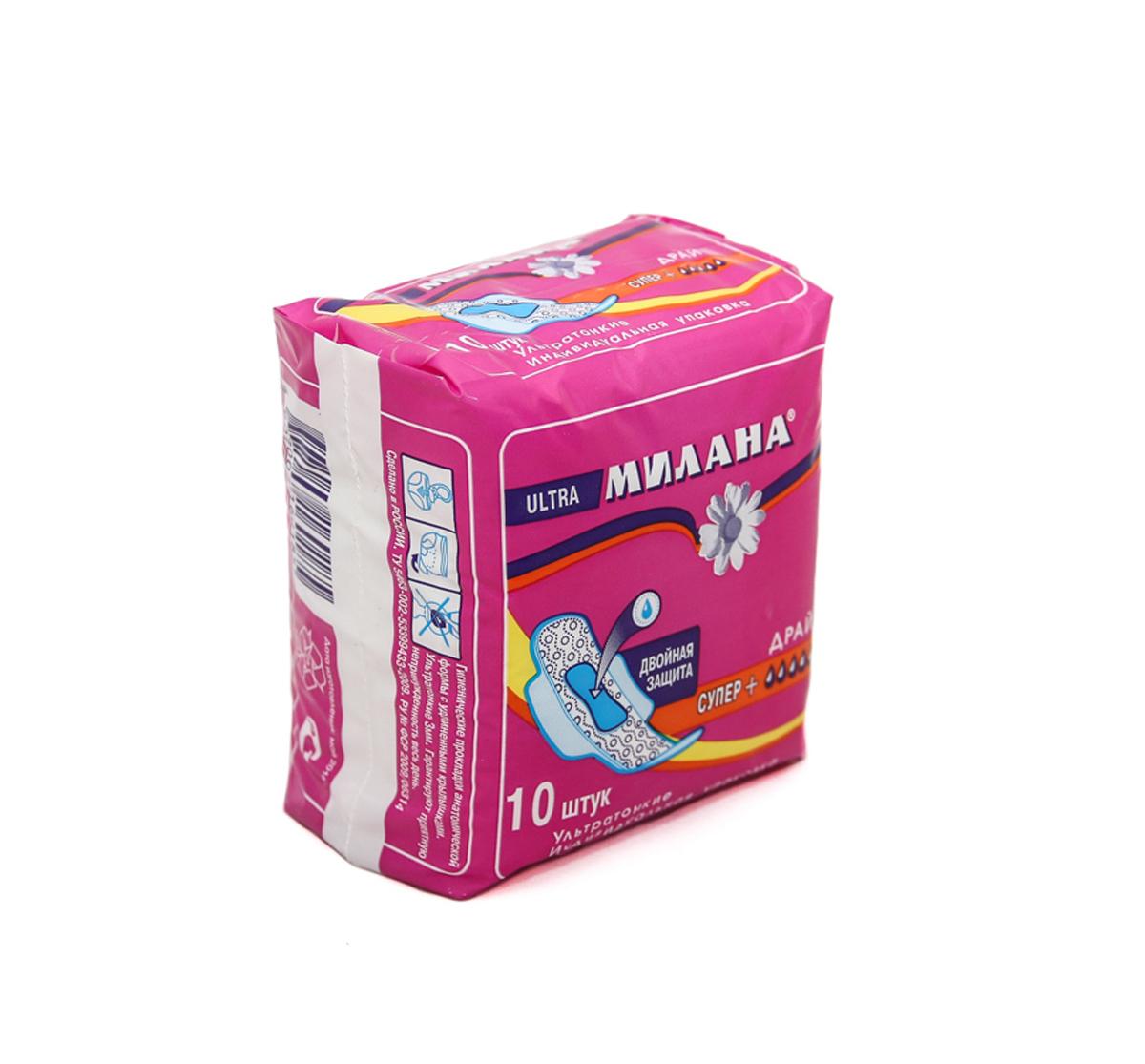 Милана Ультратонкие прокладки женские Ультра Супер Драй, 10 шт305Ультра супер+ ДРАЙ - Ультратонкие прокладки для критических дней.Удлиненная форма (260мм) обеспечивает увеличение впитываемости. Впитывающий слой Айрлайд- прессованная целлюлоза с добавлением гранул геля для фиксации жидкости внутри прокладки. Впитывающий слой надежно закреплен термическими швами, которые фиксируют на месте гранулы геля и не позволяют им собираться в комки.В центре прокладки - дополнительный впитывающий слой голубого материала «Айрлайд» для максимальной защиты.Верхний слой - покрытие ДРАЙ - популярный сетчатый слой, сохраняет поверхность прокладки практически сухой.Снабжены гибкими крылышками увеличенного размера для надежной фиксации и защиты белья.В упаковке 10 прокладок, каждая в индивидуальной упаковке.