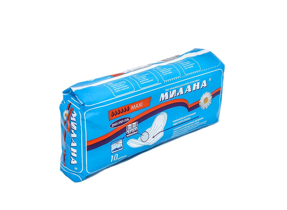 Милана Прокладки гигиенические женские MAXI Драй, 10 шт504Макси драй+гель - Прокладки для критических дней.Удлиненная форма обеспечивает более надежную защиту.Увеличенные боковые крылышки надежно фиксируют прокладку на белье.Впитывающий слой - распушенная целлюлоза с добавлением гранул геля, обеспечивающих увеличение впитываемости.Верхний слой - покрытие Драй - популярный сетчатый слой, через имеющиеся отверстия в виде воронок направляет жидкость во впитывающий слой, сохраняя поверхность прокладки практически сухой. Форма отверстий не позволяет жидкости выходить наружу.