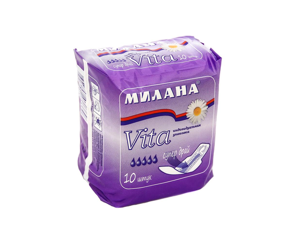 Милана Ультратонкие прокладки женские VITA Супер Драй, 10 шт606Ультратонкие прокладки для критических дней, оптимальной длины (230 мм). Прокладки снабжены боковыми крылышками для надежной фиксации и защиты белья.Впитывающий слой - «Айрлайд+» - прессованная целлюлоза с увеличенным содержанием гранул суперабсорбента превращающего жидкость в гель. Впитывающий слой надежно закреплен термическими швами.Верхний слой - сеточка Драй - поверхность прокладки остается практически сухой.В центре прокладки - дополнительный впитывающий слой для максимальной защиты.В упаковке 10 прокладок в индивидуальной упаковке.