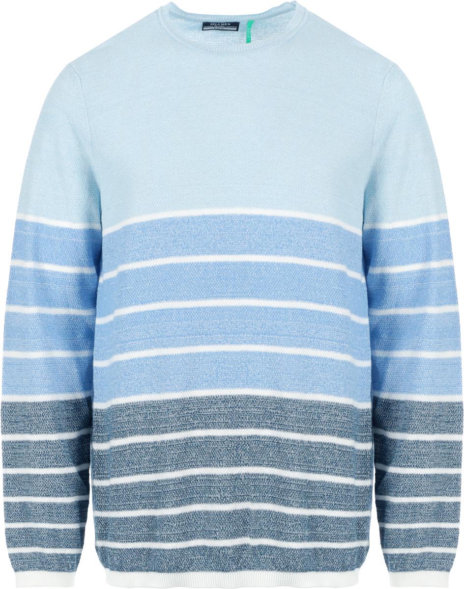 Джемпер мужской Sela, цвет: голубой, темно-синий. JR-214/1030-8112. Размер XS (44)